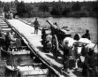 FRENCH ARTILLERY FIRING   aka ARTILLERY - BIG GUNS CROSS PONTOON BRIDGE, PULLED...