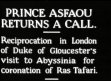 UK / ROYALTY: Crown Prince Asfaou of Abyssinia arrives in London to visit the...